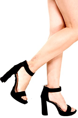 DND ANNA SUEDE OPEN TOE VELCRO STRAP CHUNKY HIGH HEEL Blacksuede-gladys-9 sceNAyT3