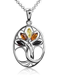 Multicolor Amber Sterling Silver Tree Pendant Necklace Chain 18""