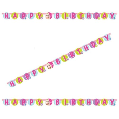 7.5ft Pink Barbie Happy Birthday Letter Banner Party Decoration