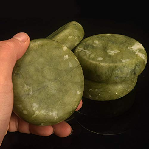 (Leosense Professional Jade Hot Massage Stone, Hand Made Thick & Heavy Healing Jade Energy Stone Rock for Spa Beauty, 100% Natural Massage Stone Therapy For Relaxation | Heating Easier, Store Longer!)
