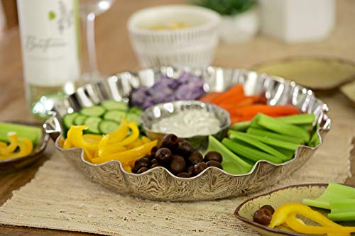 (Elegant 2 Piece Stainless Steel Chip And Dip Platter - Party Serving Bowl - Ideal For Chips And Salsa Appetizers, Salad, Party Bowl, Relish Dish, )