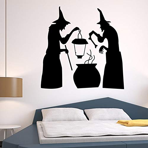 Halloween Witch Wall Stickers Window Cling Witch for Halloween Removable Wall Decor Art Decals for Living Room Bedroom Kid's Room Store Halloween Decor Stickers -