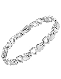 Womens Love Heart Titanium Magnetic Therapy Bracelet Adjustable By Willis Judd