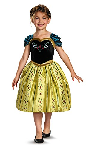[Disney's Frozen Anna Coronation Gown Classic Girls Costume, Small/4-6x] (Material Girl Fancy Dress Costume)