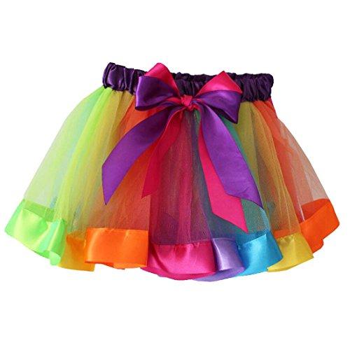 Rainbow Tutu Dance Skirt GoFriend Baby Girl Ruffle Tiered Petticoat Dress Clubwear (M, 2-4 years, Color 3)