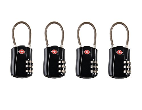 OuterStar TSA Lock - 3 Digit Combination cable Padlocks For Travel Baggage, Laptop Bag, Briefcase, Safety and Security, Theft Protection Luggage TSA Approved Lock (4 Pack,Black)