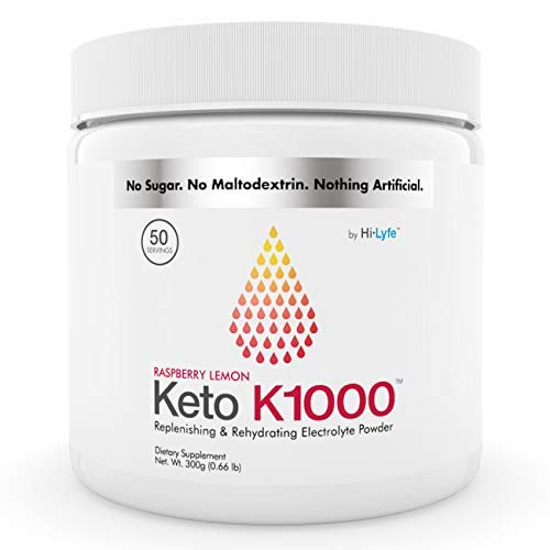 Keto K1000 Electrolyte Powder | Boost Energy & Beat Leg Cramps | No Maltodextrin or Sugar | Raspberry Lemon | by Hi-Lyte | 50 Servings
