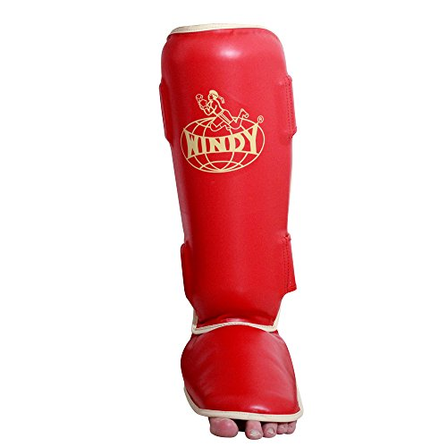 Windy Traditional Shin Instep Guard, Red, Regular