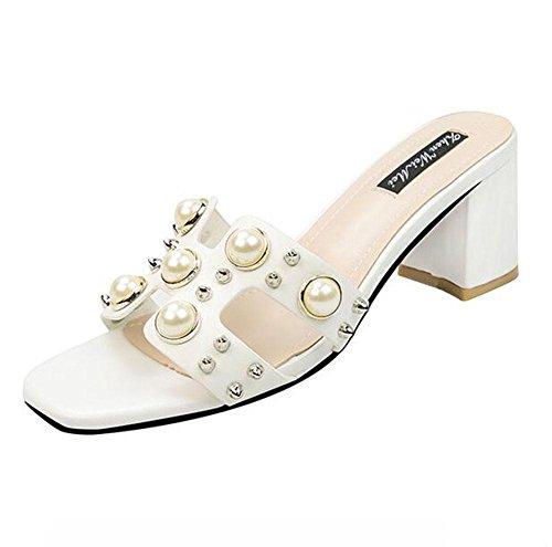 de con moda de mujer sandalias de moda KUKI trajes para Sandalias perlas gruesos con con tac Liuzhao x0S4xqYZOw