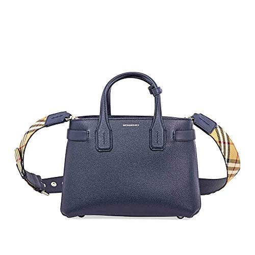 Burberry women's leather handbag shopping bag purse the banner blu