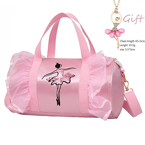 (Cute Ballet Dance Bag Tutu Dress Bag with Necklace Girls (Pink2 of Long Mesh))