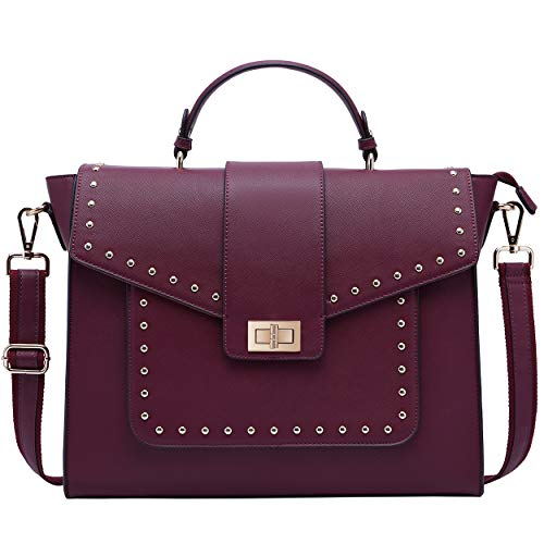 Briefcase for Women,17 Inch Fashion Laptop Messenger Bag with Chic Studded Computer Bags for Work School Business Travel,burgundy-17Inch