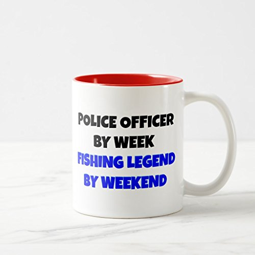 Zazzle Fishing Legend Police Officer Coffee Mug, Red Two-Tone Mug 11 - 2 Legend Police