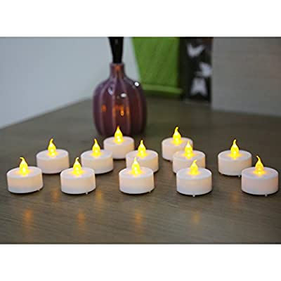 12 piece Set Flickering Flameless Tea Light Candles Battery-Operated LED Pillar Candles, suitable festive Love occasions Weddings Birthdays Christmas parties Centerpieces for your dining table