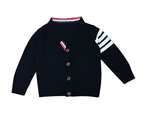 Stripe V-neck Cardigan (Guandiif Boys Cardigan Stripe Knit Sweaters Long Sleeve V-neck Button Cotton Sweater 6Y Black)