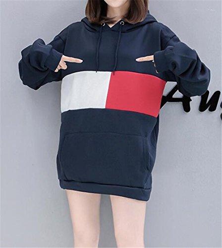Maniche Lungo Hoodies Con Lunghe Sweatshirt Cappuccio Pullover Moda Donna Felpa Multicolore Kerlana Tasche Blue Sportiva wqSzI0C