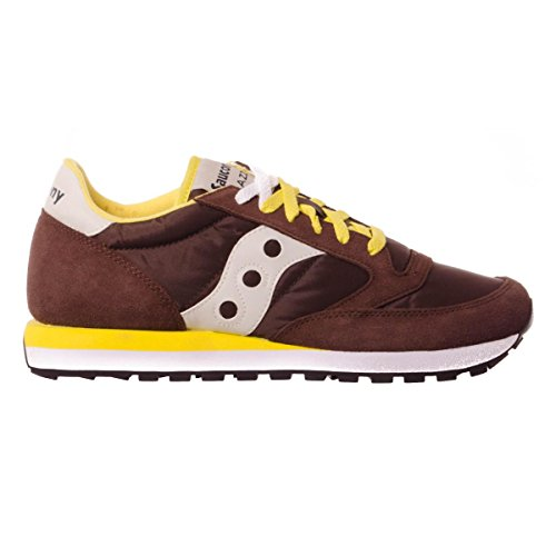 Saucony Jazz Original Sneakers Lacci Uomo Pelle Tessuto Brown Yellow Marrone S2044-416 Inverno 2018 Marrone