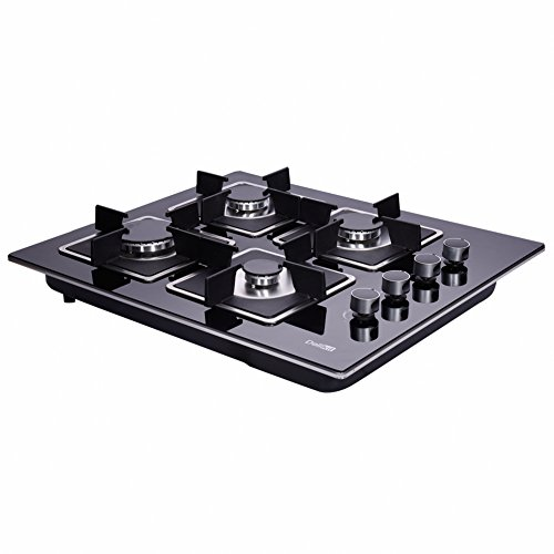 DeliKit DK145-A02S 24 inch gas cooktop gas hob 4 Burners LPG/NG Dual Fuel 4 Sealed Burners Kitchen Tempered Glass Built-in gas Cooktop 110V AC pulse ()