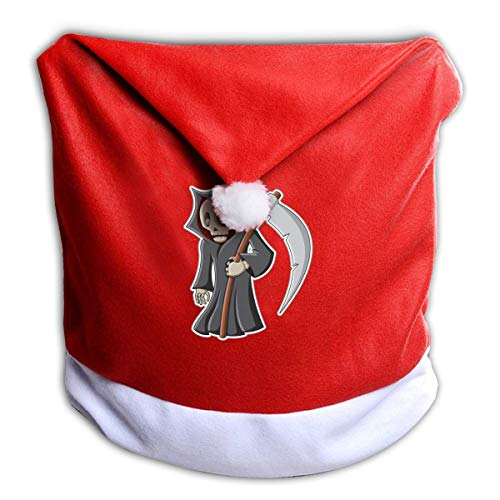 Halloween Death Hook Reaper Non-Woven Xmas Christmas Themed Dinner Chair Cap Hat Covers Set Ornaments Backers Protector for Seat Slipcovers Wraps Coverings Decorations -