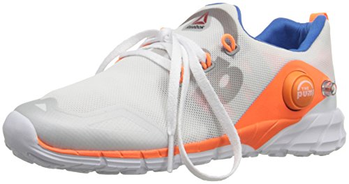 Reebok Pump Fusion 2.0 Running Shoe (Little Kid/Big Kid), White/Opal/Tin Grey/Electric Peach/Blue Sport, 5 M US Big Kid