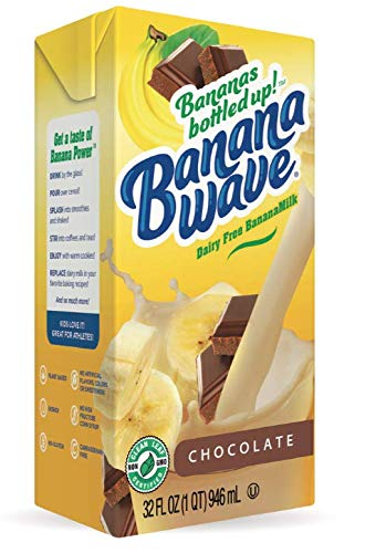 Banana Wave Dairy Free Banana Milk, Blended Superfood Beverage with Potassium and Omega-3, All Natural (Chocolate)