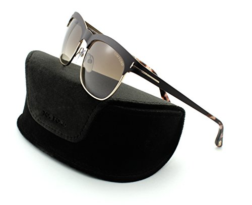 Tom Ford FT 0437 Elena Women Metal Geometric Sunglasses (Shiny Dark Brown Frame, Gradient Brown Lens - Tom Ford Eyeglasses Discount