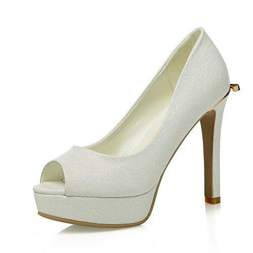 Heels in Weiß AgooLar Damen aus Toe Peep Sandalen High qwBEvBpxS