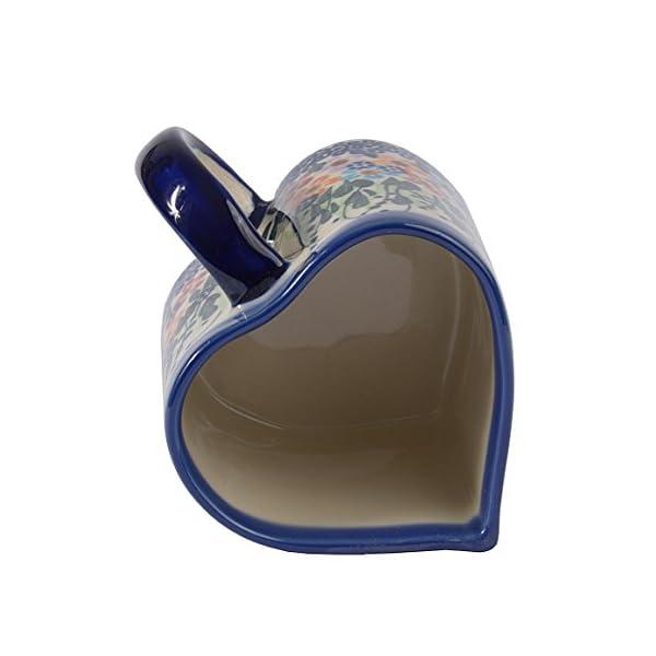 Traditional Polish Pottery, Handcrafted Ceramic Heart-shaped Mug (250ml / 8.8 fl oz), Boleslawiec Style Pattern, Q.801.DAISY