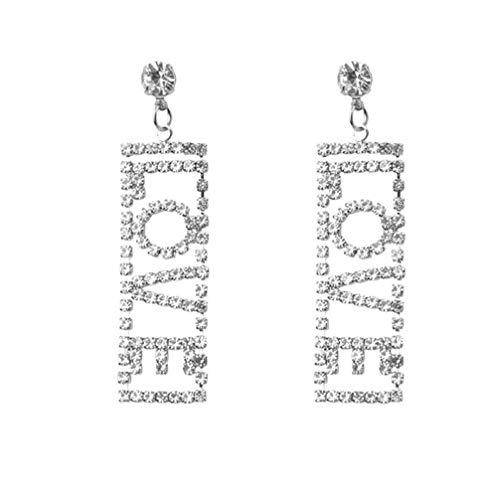 (Myhouse Rectangular Rhinestone Letter Love Long Dangle Earrings for Women Girls, Silver Color)