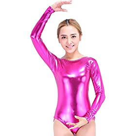- 41utg3I 2BFFL - Speerise Girls Kids Long Sleeve Shiny Metallic Dance Gymnastics Leotard