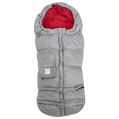 7 A.M. Enfant Blanket 212 Evolution Footmuff-Heather Grey with Red Fleece Lining by 7A.M. Enfant