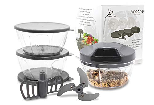 Tribowl Apache, Hand Powered, Tri Bowl Manual Pull Cord Food Chopper Speedy Crank Chop for Onion, Garlic, Meats, Nuts and Vegetables with extra bowls, lids + blender attachment