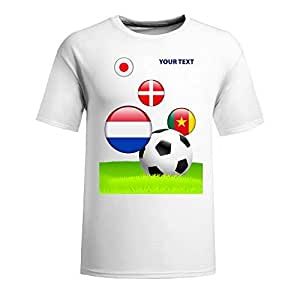 Custom Mens Cotton Short Sleeve Round Neck T-shirt,2014 Brazil FIFA World Cup teams_E white by Maris's Diary