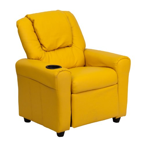 Flash Furniture Contemporary Yellow Vinyl Kids Recliner with Cup Holder and Headrest (Yellow Leather Recliner)