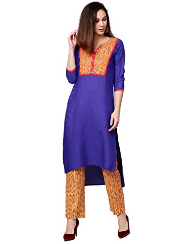 Jaipur Kurti Women Blue & Mustard Solid Straight Cotton Kurta With Palazzo (Suit Blue Salwar)