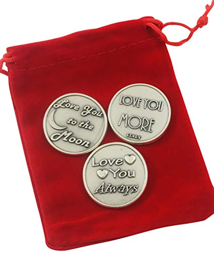 Westmon Works Love Token Gift Set Three Different Large Tokens with Red Gift Bag
