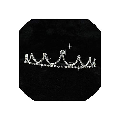 Regal Silver Sterling Crown - Wedding Bridal Bridesmaid Tiara Crown Headband Girls Love Crystal Rhinestone Jewelry hair Accessories Bride Head jewelry,1336