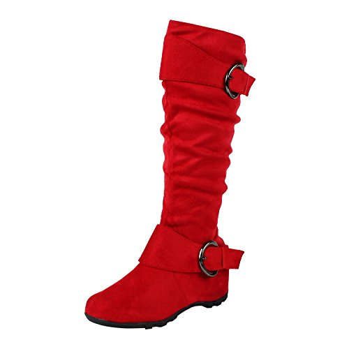 West Blvd Dhaka Knee High Riding Boots, Red Suede, 9 (Red Women Boots)