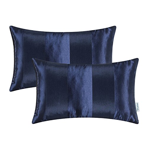 CaliTime Pack of 2 Cushion Covers Bolster Pillow Cases Shells Couch Sofa Home Decoration Modern Shining & Dull Contrast Striped 12 X 20 Inches Navy Blue