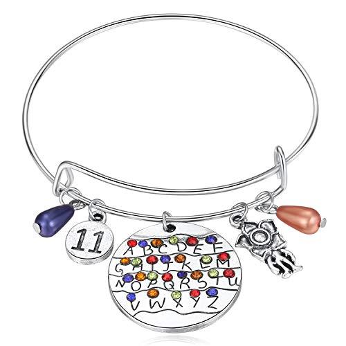 Stranger Things Gifts, Themed Bracelet ST Merchandise Alphabet Jewelry Light Eleven Demogorgon Bangle Halloween Cosplay Costume for Girls Women