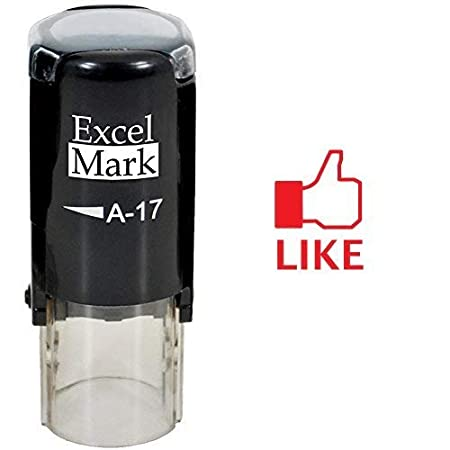 ExcelMark Round Teacher Stamp - FACEBOOK LIKE - Red Ink Discount Rubber Stamps A17