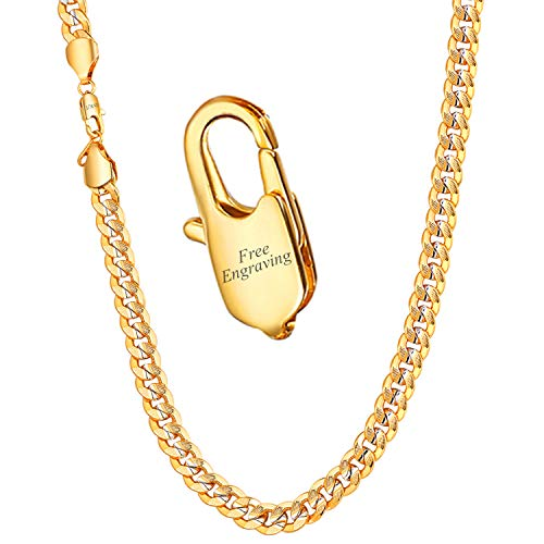 - U7 Men Chunky Chain 9MM Wide Two-Tone Platinum & 18K Gold Plated Curb Cuban Chain Necklace - 24 inch- with Custom Engrave Service