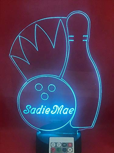 Bowling Light Up Light Lamp LED Free Engraved Custom Name Personalized Bowling Pin and Ball Table Lamp, with Remote, 16 Different Color Options, Dimmer, It's Wow, Great Gift (Pin Bowling Personalized)