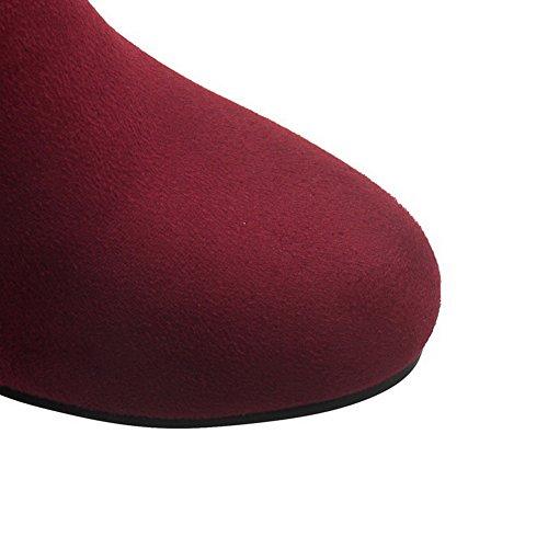 Allhqfashion Donna Low-top Solido Pull-on Tacchi Alti Stivali Punta Chiusa Rosso