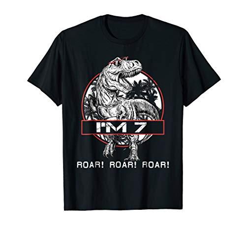 Roar! Roar! Roar! I'm 7 7st Birthday Dinosaur Shirts Boys ()