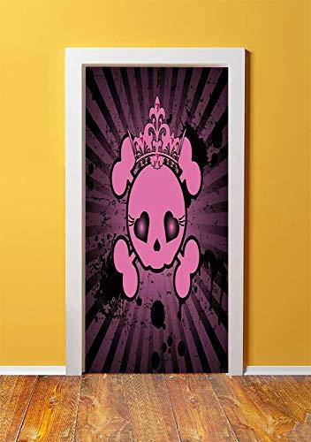 Skull 3D Door Sticker Wall Decals Mural Wallpaper,Cute Skull Illustration with Crown Dark Grunge Style Teen Spooky Halloween Print Decorative,DIY Art Home Decor Poster Decoration 30.3x78.14329,Pink Bl]()