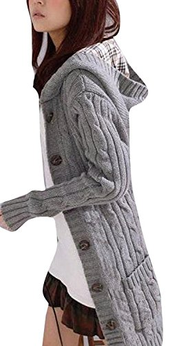 Minetom Womens Cable Knit Sweater With Button Grandfather Long Arm Hooded Gray (Sweater Hooded Knit Cable)