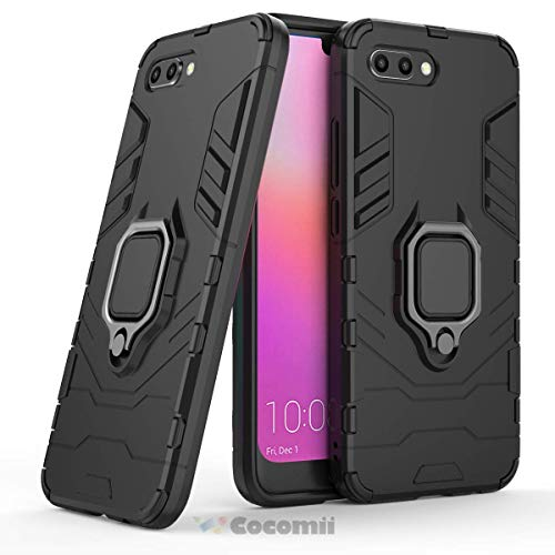 Cocomii Black Panther Armor Huawei Honor 10 Case NEW [Heavy Duty] Tactical Metal Ring Grip Kickstand Shockproof Bumper [Works With Magnetic Car Mount] Full Body Cover for Huawei Honor 10 (B.Jet Black)
