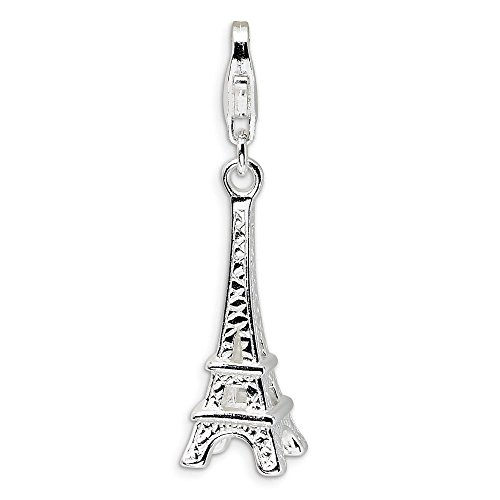 Sterling Silver Polished Eiffel Tower w//Lobster Clasp Charm