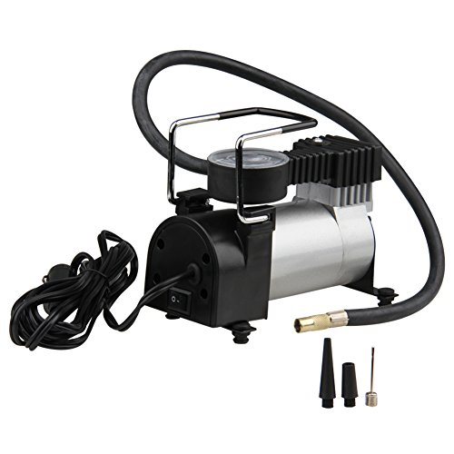 Cylinder Mini (Big-Autoparts Portable Air Compressor Pump, Metal Cyclinder 12v Mini Cigarette Lighter Car Tire Inflator Pump with Gauge for Cars Bikes Balls, Max Pressure 150 PSI)